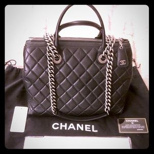 CHANEL Bags - Chanel Calfskin Black Zip Quilted Shopping Tote